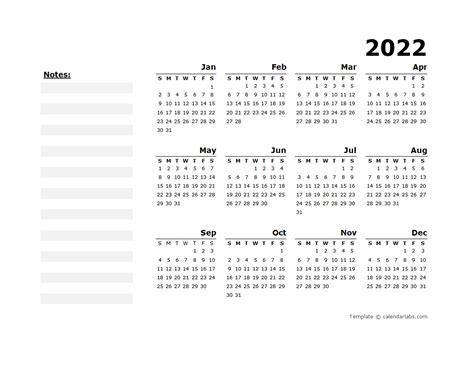 yearly calendar blank minimal design  printable