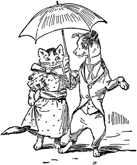 dog cat dressed  umbrella clipart