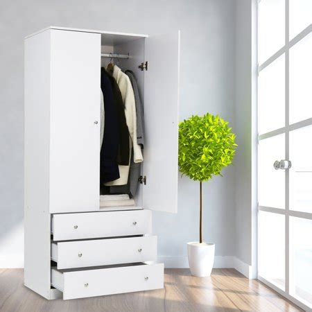 Wardrobe With Drawers And Hanging by Kinbor Two Door Wardrobe Cabinet Armoire With Three