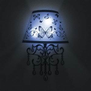 sticker lampe 3d led papillons noirs et blancs ambiance With carrelage adhesif salle de bain avec led lampe 3d