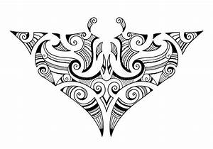 Manta Ray Maori Tattoornament Vektor Illustrationer