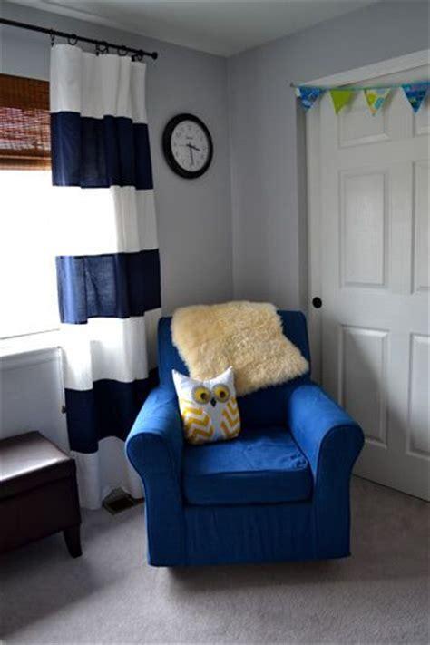 baby boy nursery navy blue white striped curtains
