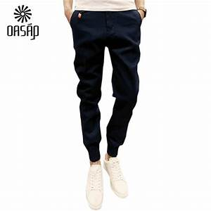 OASAP pants 2016 summer Casual Solid Color Zipper Fly Elastic Cuff Pants For Men Cotton ...