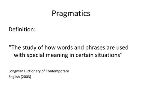 Pragmatic Definition For English Language Learners From