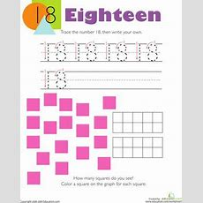 Tracing Numbers & Counting 18  Make A Graph, Number Worksheets And Count