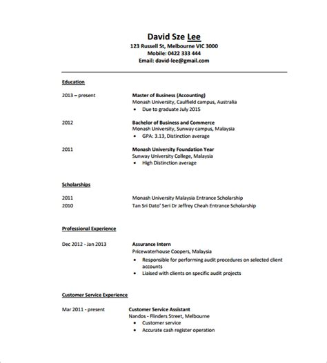 Accounting Resume Format Pdf by Sle Tutor Resume Template 7 Free Sle Exles