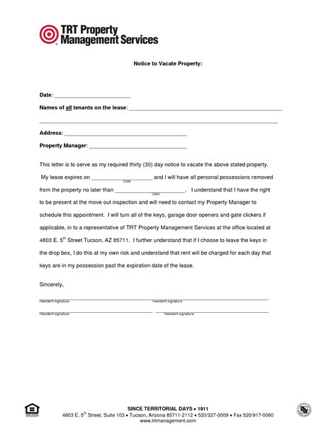 notice  vacate property rota template