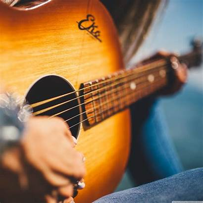 Guitar Playing Acoustic Close Tablet Young Background