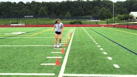 dribble soccer through cones