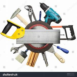 Carpentry Construction Tools Collage Background Stock