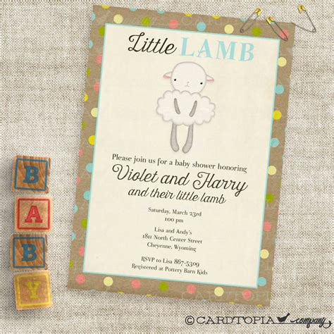 lamb blue  brown baby shower invitations baby