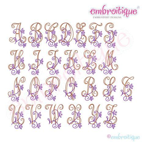 embroitique vintage floral alphabet monogram font set