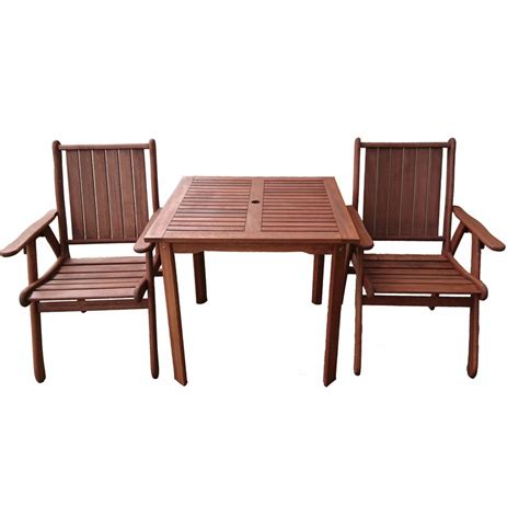 3pc wooden outdoor dining table chair set 80cm buy