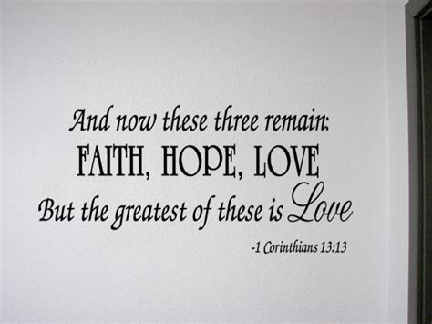faith hope love corinthians wall quote decal scripture
