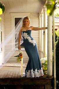 Unique denim and lace country wedding dress by bellavittoria for Denim and lace wedding dress