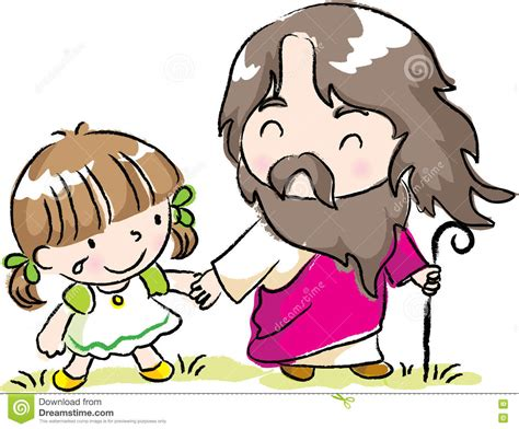jesus cartoon children christ hand vector drawing