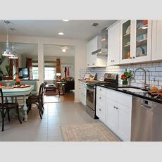 White Contemporary Kitchen With Large White Subway Tile