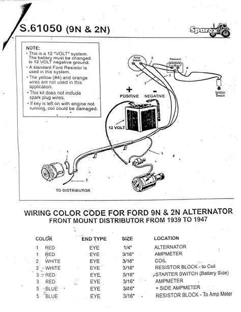 Wiring Diagram For Ford 8n 12 Volt ford 9n 2n 8n tractor alternator conversion kit 12 volt ft