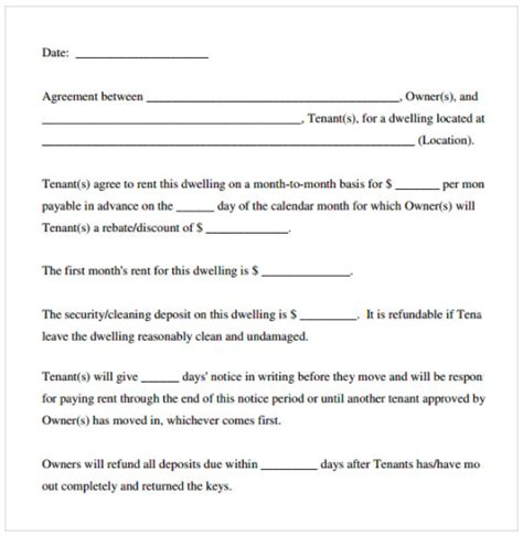 rental agreement template  top form templates