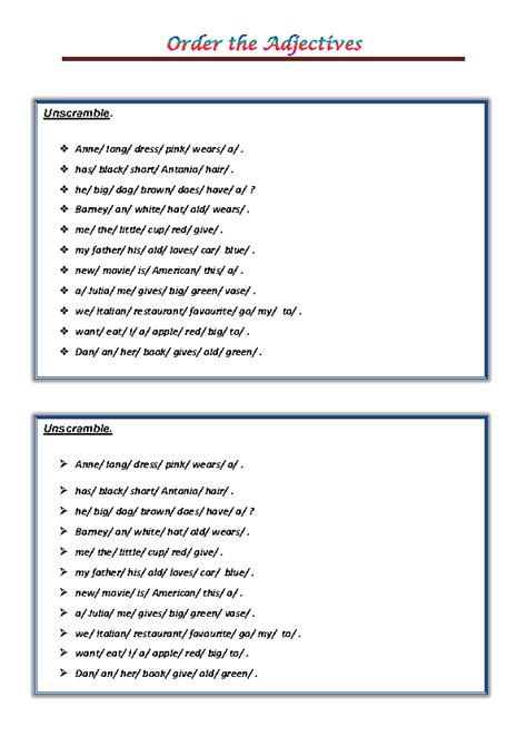 101 Free Word Order Worksheets