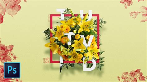 create  floral typography text effect  photoshop cc