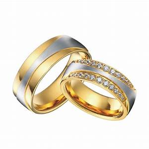 luxury 18k gold plating health titanium jewelry engagement With wedding rings and bands sets