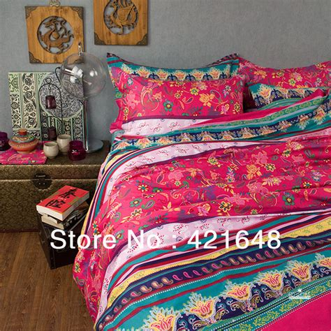 new beautiful casa 100 cotton 4pc cover set red turquoise boho bedding set queen king size