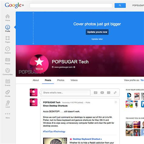 Google Cover Photo Size by Google Plus Cover Photo Size Popsugar Tech