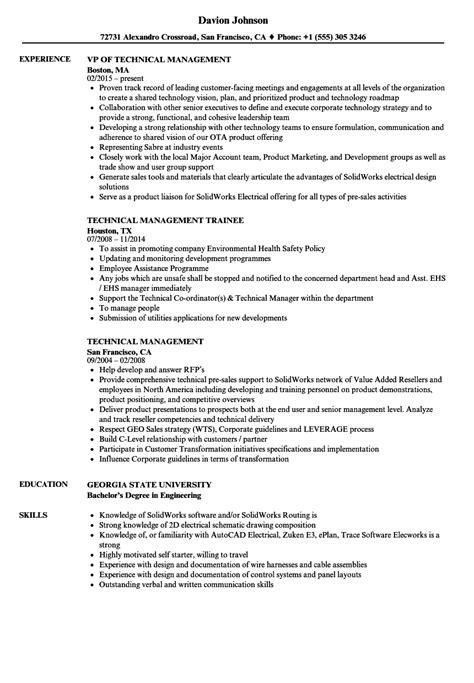 Technical Manager Resume Sles by Technical Management Resume Sles Velvet
