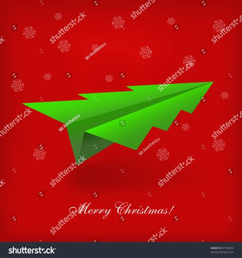 concept christmas tree origami airplane vector stock