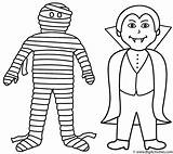Mummy Coloring Halloween Vampire Pages Printable Mummies Template Coffin Face Preschool Cartoon Scary Happy Getcoloringpages Bigactivities sketch template