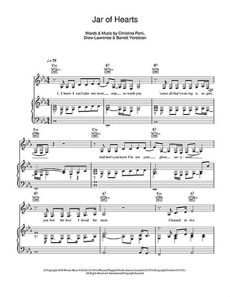 kunci piano jar of heart jar of hearts sheet music by christina perri piano vocal guitar right hand melody 111926