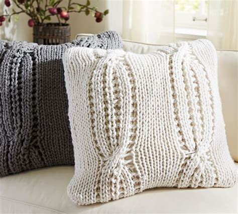 chunky knit pillow chunky cable handknit pillow cover pottery barn 2202