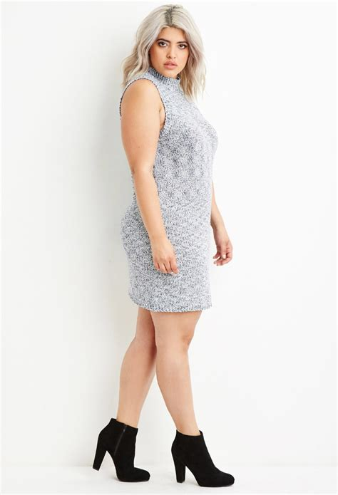forever 21 sweater dress forever 21 plus size marled knit sweater dress in blue lyst