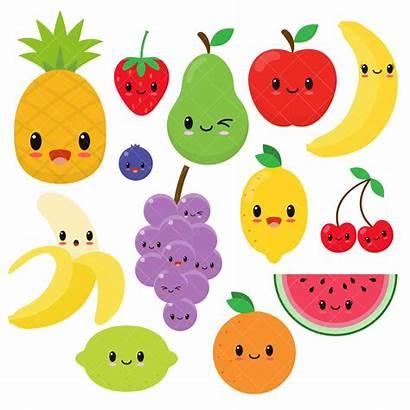 Fruit Clipart Kawaii Happy Clip Fruits Orange