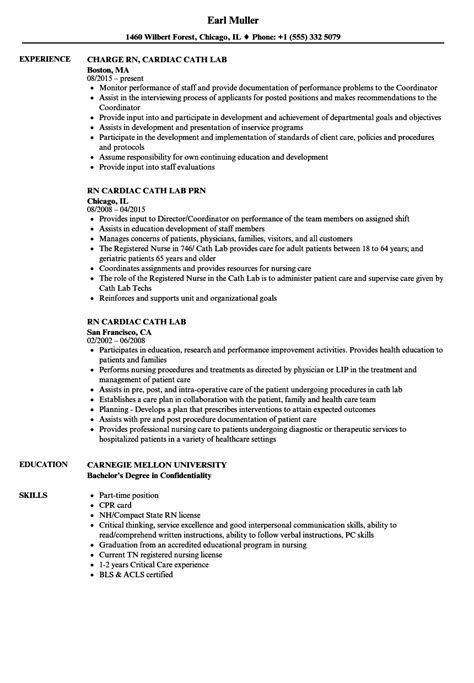 Cath Lab Tech Resume by Rn Cardiac Cath Lab Resume Sles Velvet