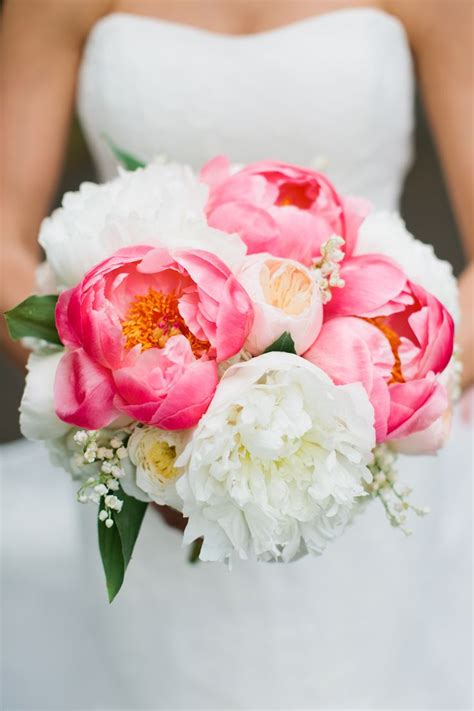 coral peony bouquet ideas  pinterest coral