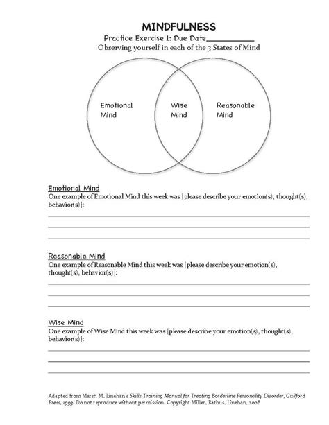 Dbt Mindfulness Exercise (homework Assignment #1) Adapted From Marsha M Linehan's Skills