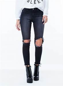 Take A Knee Cut-Out Jeans BLACK BLUE - GoJane.com