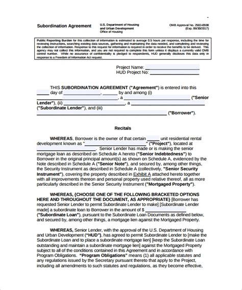 subordination agreement templates sample templates