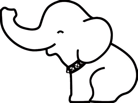 elephant clipart outline trunk up elephant outline drawing clipart best