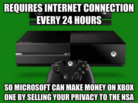 Internet Connection Meme - requires internet connection every 24 hours so microsoft can make money on xbox one by selling