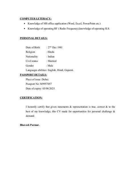 Cv For Application Exle by Visit Visa Resume