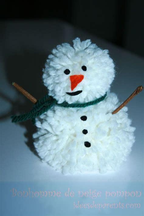 bonhomme de neige pompon bricolage enfants noel