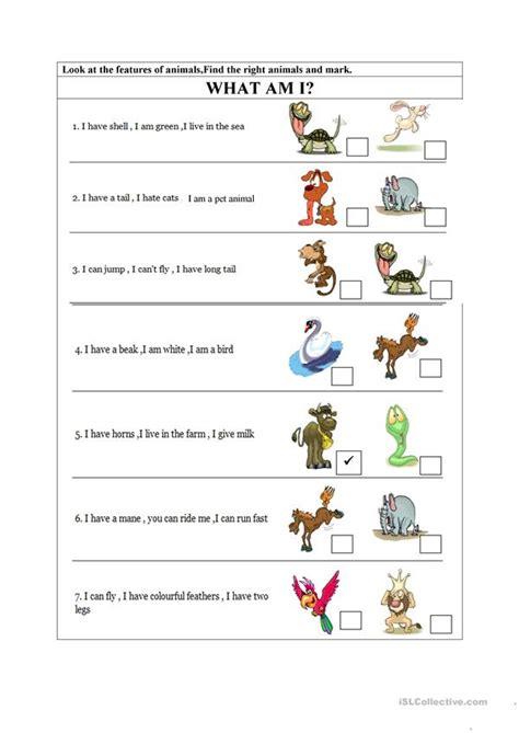 animals body parts worksheet  esl printable