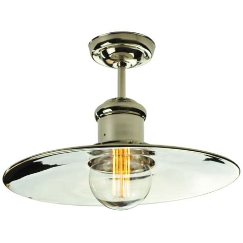 semi flush fitting low ceiling light in industrial vintage