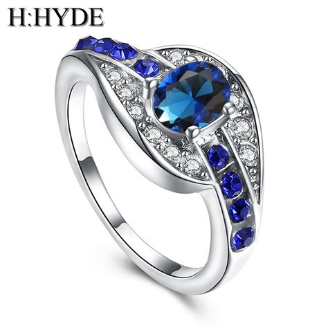 unique wedding ring jewelry h hyde unique fine jewelry blue oval zircon stone ring silver color wedding engagement rings for