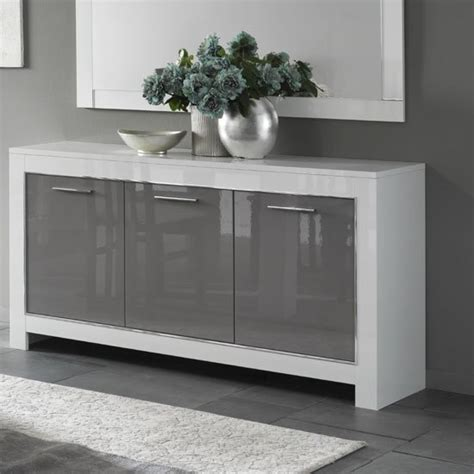 Gloss Sideboards Furniture by Lorenz Sideboard In White And Grey High Gloss With 3 Doors