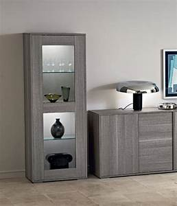 Futura 1 door display cabinet grey wood display cabinet for Modern cabinets for living room