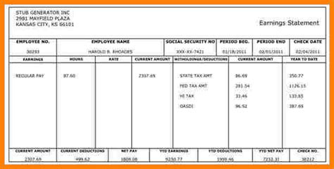 free pay stub template 9 paycheck stub template free sles of paystubs